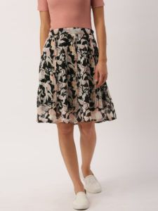 11489669002298-DressBerry-Black--Pink-Printed-Flared-Skirt-5961489669002052-1