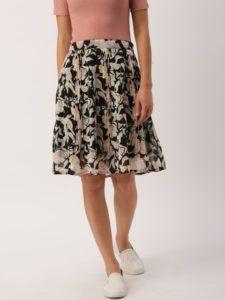 11489669002298-DressBerry-Black--Pink-Printed-Flared-Skirt-5961489669002052-1