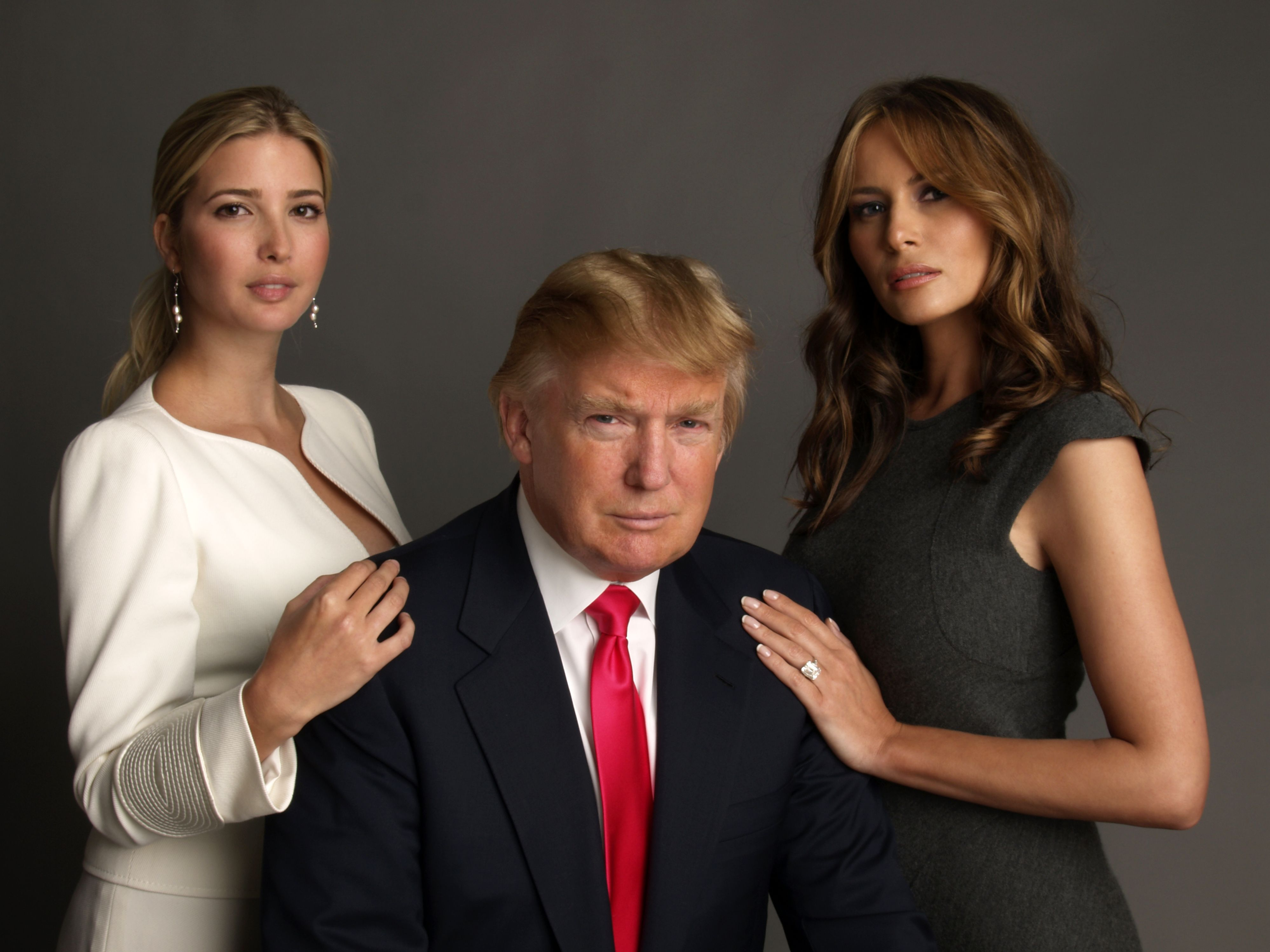 Ivanka Trump, Donald Trump and Melania Knauss (Photo by Timothy Greenfield-Sanders/Corbis via Getty Images)