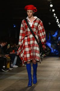 A model walks the runway at the Charles Jeffrey LOVERBOY show during London Fashion Week Men's January 2018 at Old Selfridges Hotel on January 7, 2018 in London, England.