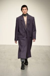 A model walks the runway at the John Lawrence Sullivan show during London Fashion Week Men's January 2018 at BFC Show Space on January 6, 2018 in London, England.