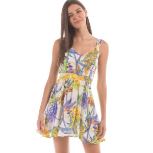 Shuffle Multi-coloured Fit And Flare Dress