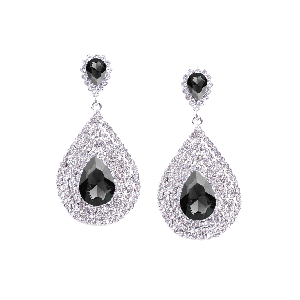Rubans Classic Black and White Rhinestone Encrusted Drop Earrings