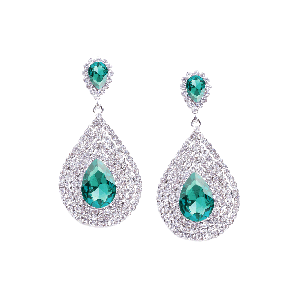 Rubans Classic Green and White Rhinestone Encrusted Drop Earrings