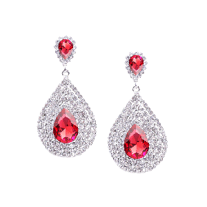 Rubans Classic Red and White Rhinestone Encrusted Drop Earrings
