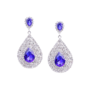 Rubans Classic Blue and White Rhinestone Encrusted Drop Earrings
