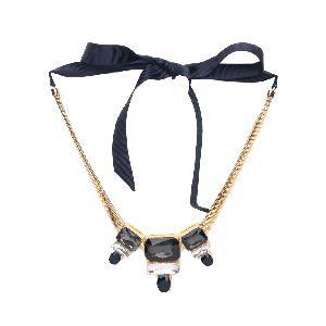 Rubans Monochrome Chunky Stone Embellished Statement Necklace