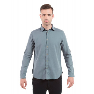 Shuffle Grey Cotton Linen Shirt with Sleeve D-Rings