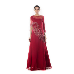 Anushree Agarwal Wine Embellished Cape Gown