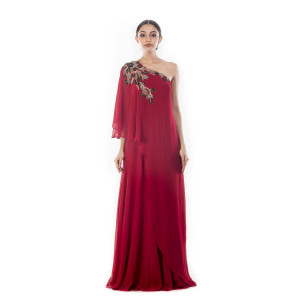 Anushree Agarwal Wine One-shouldered Gown