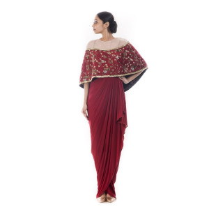 Anushree Agarwal Wine Cape Dress