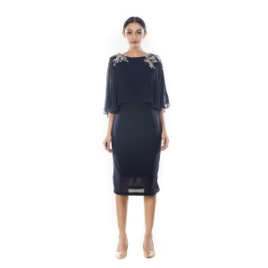 Anushree Agarwal Midnight Blue Cape Dress