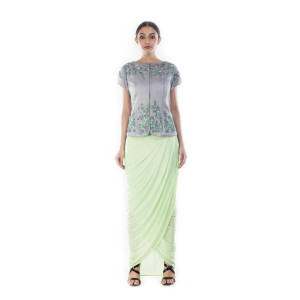 Anushree Agarwal Green and Grey Jacket and Skirt