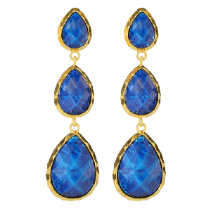 Amrita Singh East Hampton Light Blue Marbled Resin Earrings