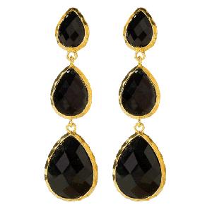 Amrita Singh East Hampton Black Marbled Resin Earrings