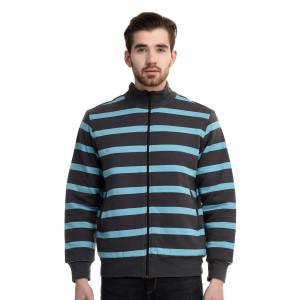 HouseOfFett Aqua & Grey Striped Zipper Jacket