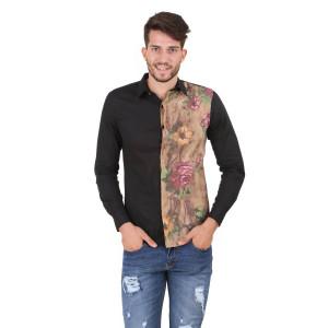 HouseOfFett Black Panelled Floral Print Shirt