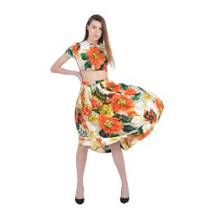 House of Fett Florid Crop Top And Skirt