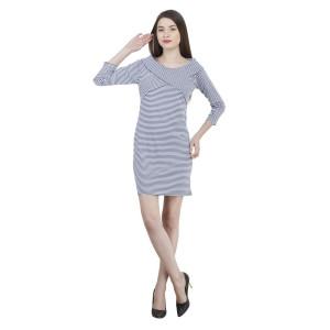 House of Fett Off-shoulder Striped Dress