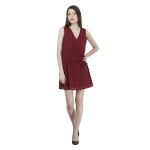 House of Fett Wine Draped Dress