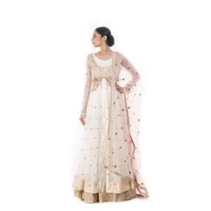 Anju Agarwal White and Gold Lehenga Set