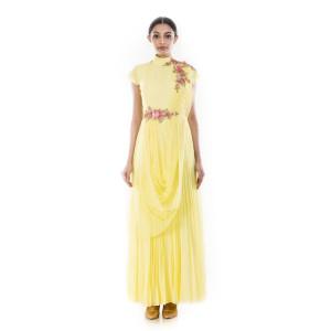 Anju Agarwal Butter Yellow Draped Gown
