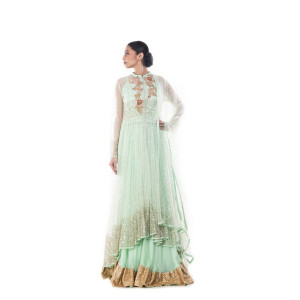 Anju Agarwal Light Green and Gold Lehenga Set