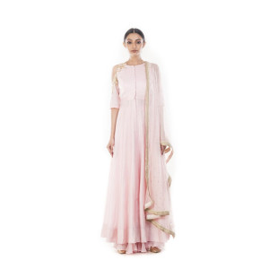 Anju Agarwal Misty Rose Palazzo Suit Set