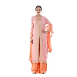 Anju Agarwal Pink and Peach Suit Set