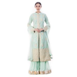 Anju Agarwal Aquamarine Palazzo Suit Set