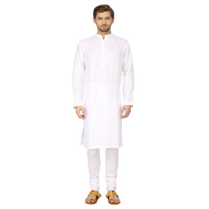 Mayank Modi White Kurta Churidar Set