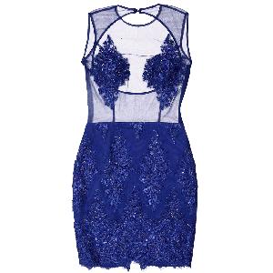 Manoviraj Khosla Royal Blue Sheer Lace Dress