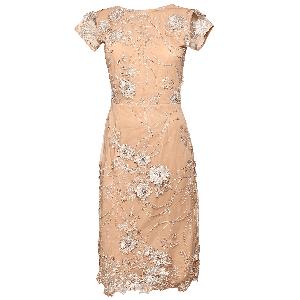 Manoviraj Khosla Peach Low Back Lace Dress
