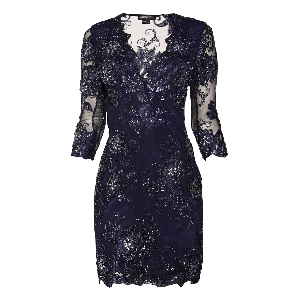 Manoviraj Khosla Navy Blue Sheer Embroidered Dress