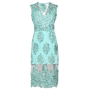 Manoviraj Khosla Aqua Green Sheer Lace Embroidered Dress