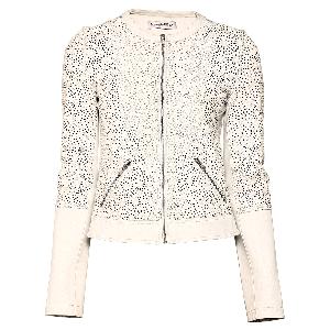 Manoviraj Khosla White Cutwork Leather Jacket