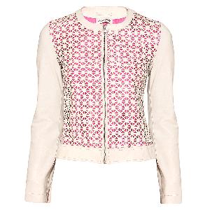 Manoviraj Khosla Pink and White Cutwork Leather Jacket
