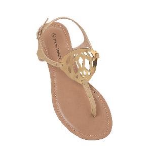 Pierre Dumas Flat Sandals with Metal Cutwork