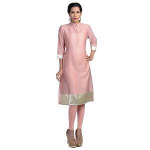 Uptown Galeria Pink Cotton Silk Bandhgala Kurta