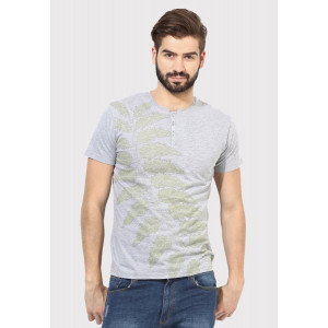 Sandeep Mahajan Grey Melange Cotton Leaf Print T-shirt