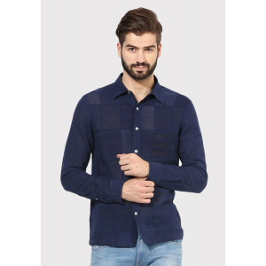 Sandeep Mahajan Dark Indigo Patch Full Sleeve Casual Shirt