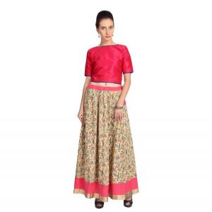 VODKA Pink rawsilk top and printed skirt set