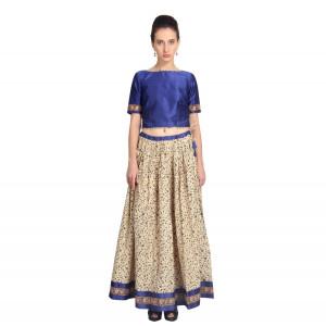 VODKA Blue rawsilk top and printed skirt set