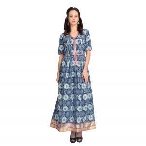 VODKA Flared printed maxi dress