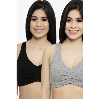 Nod'r Black and Grey Odor Protection  Sports Bra Set