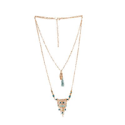Prym Blue Tasselled Layered Necklace