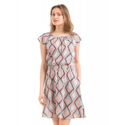PRYM Beige Printed Smock Dress