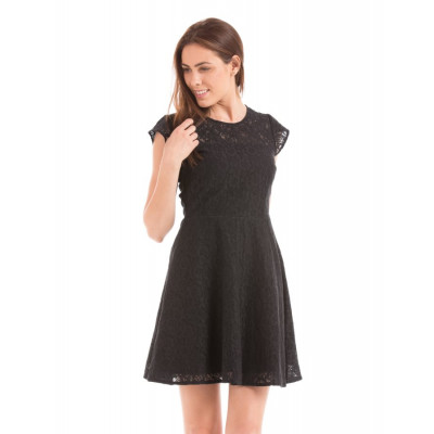 PRYM Black Fit and Flare Lace Dress