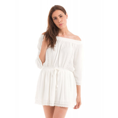 PRYM White Off Shoulder Boho Dress