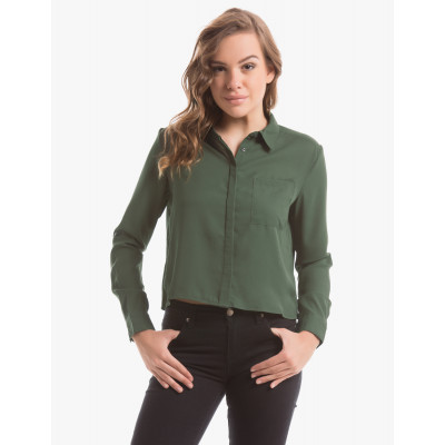 Dark Green Cropped Shirt